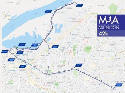 La ruta de los 42 kilómetros de la Maratón Internacional de Asunción