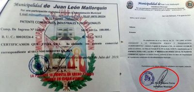 Vaesken amenaza a Intendente de Mallorquín si no cambia informe sobre falsificación de patente no recibirá obras