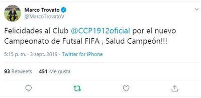 Trovato felicitó a Cerro Porteño
