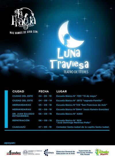 """Obra de teatro infantil """"Luna traviesa"""" de gira por Alto Paraná y Caaguazú"""