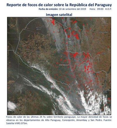Reportan más de veinte áreas de incendios forestales en Paraguay