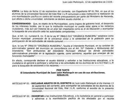 Declaran asueto en Mallorquín para acompañar movilización contra recorte a la UNE
