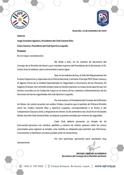 Fútbol: Partido entre Gral. Díaz y Luqueño se disputará a puertas cerradas