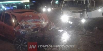 FUERTE COLISIÓN DE VEHÍCULOS SOBRE LA RUTA 6 EN MA. AUXILIADORA