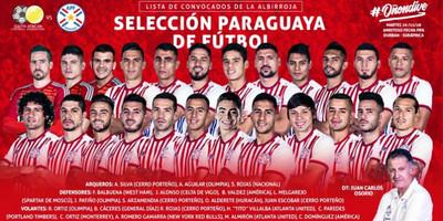 Selección Paraguaya de Fútbol, lista de seleccionados
