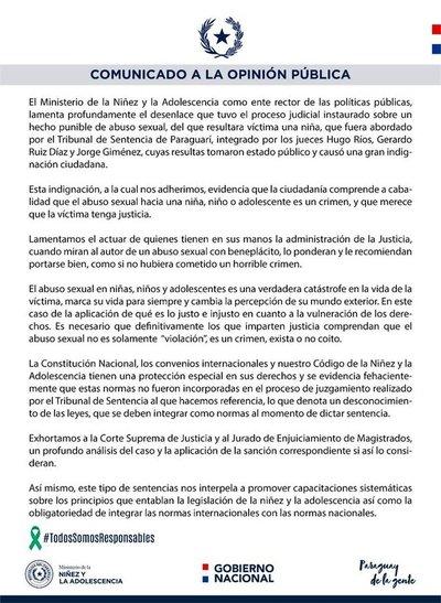 Ministra de la Niñez repudia leve condena por caso de abuso sexual a menor de edad