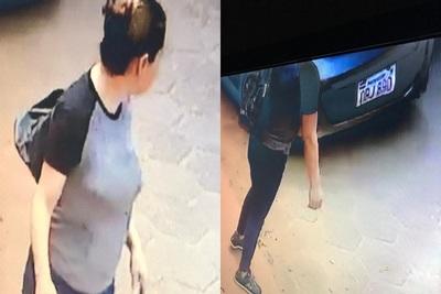 Filman a mujer robando una cartera de vehículo estacionado