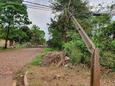 Varias zonas siguen sin energía eléctrica tras el temporal en Alto Paraná