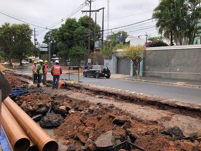 Calles intervenidas en Asunción por trabajos de alcantarillado sanitario