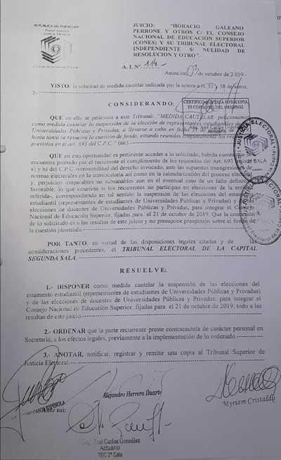 Lío en elección de representantes de CONES. Justicia Electoral dispuso suspender proceso