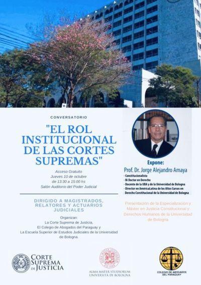 Invitan a conversatorio sobre el rol institucional de las CSJ