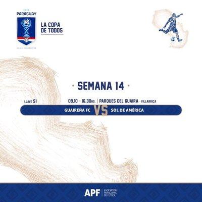 Copa Paraguay: Guaireña y Sol de América miden fuerzas por Cuartos de Final