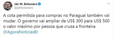 Bolsonaro anuncia aumento de cota para compras en Paraguay