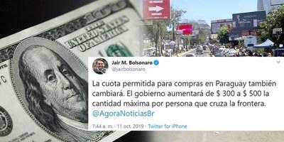 AUMENTO DE COTA DE COMPRA PARA BRASILEÑOS QUE CRUCEN A PARAGUAY