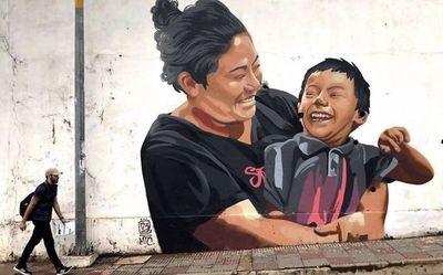 Un mural por la inclusión, en la Costanera