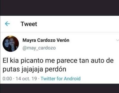 """HOY / La chica que tuiteó: """"El Kia  Picanto me parece tan auto de  putas"""", feliz de ser trending topic"""