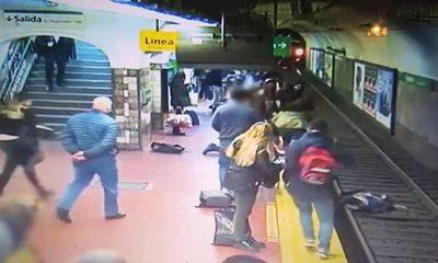 Mujer se salva de milagro tras caer a las vías de un subte en Argentina