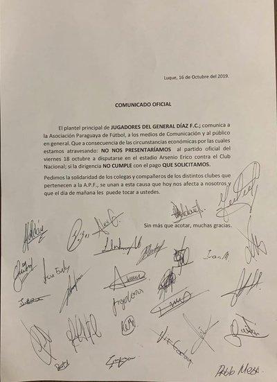 Por deudas atrasadas futbolistas de General Díaz anuncian no presentarse ante Nacional
