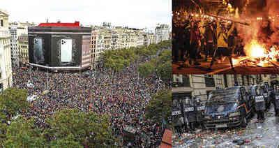 Arde Cataluña: los disturbios dejaron más de 180 heridos y 80 detenidos