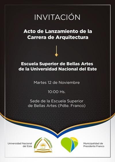 Invitan al acto de lanzamiento de Arquitectura de la UNE en Franco