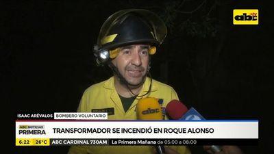 Transformador se incendió en Roque Alonso