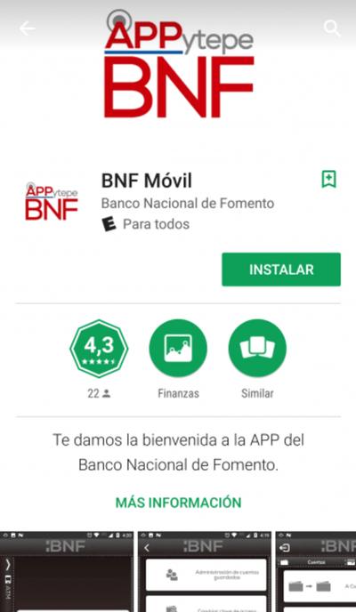 """""""APPytepe"""" ya se encuentra disponible la app del BNF"""
