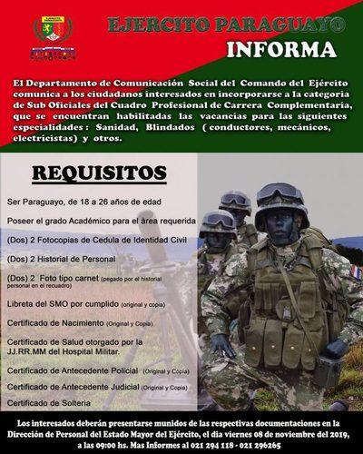 Ejercito paraguayo informa que tiene varios puestos vacantes
