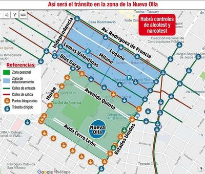 Calles y avenidas bloqueadas desde hoy por la final de la Sudamericana