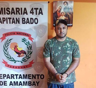 """Detienen con armas en Capitán Bado a """"Quela'i"""", conocido narcotraficante"""