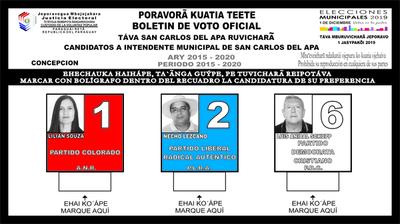 Ya están los boletines para las municipales de San Carlos del Apa