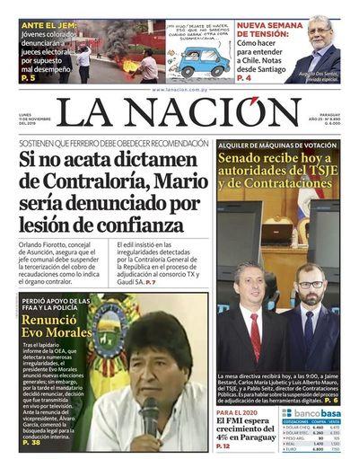 Edición impresa, 11 de noviembre de 2019