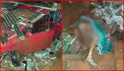 Automovilista colisiona contra una vivienda y mata a hombre
