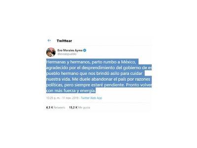 Morales avisa por red social que viaja rumbo a México