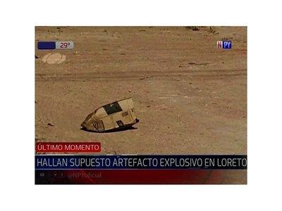 Hallan artefacto explosivo en Loreto