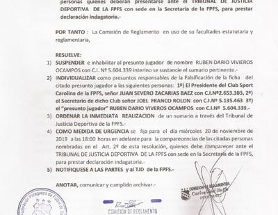 Suspenden a jugador y sumarian a directivos por presunta falsificación de ficha