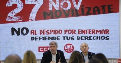 Sindicatos españoles convocan protestas contra el despido por bajas justificadas