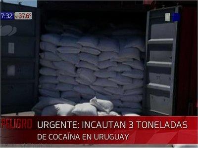 Incautan en Uruguay 3 toneladas de cocaína en contenedor paraguayo