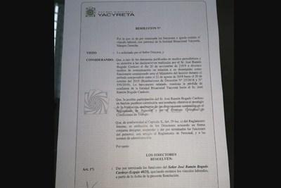 Yacyretá destituye a José Bogado, funcionario comisionado ante el Ministerio del Interior
