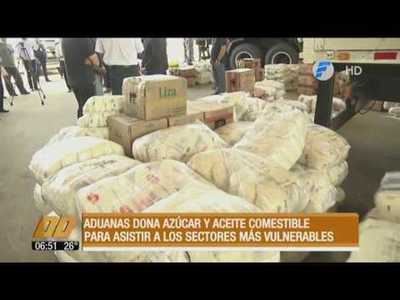 Aduanas dona azúcar y aceite comestible decomisado