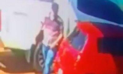 Tortoleros roban celular en estacionamiento de supermercado