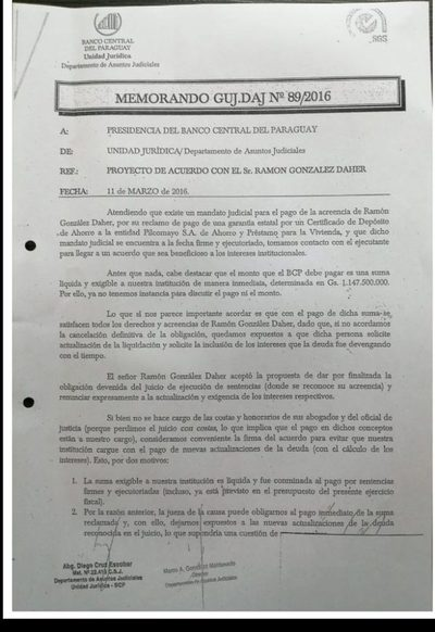 BCP pagó a González  Daher G. 1.147 millones
