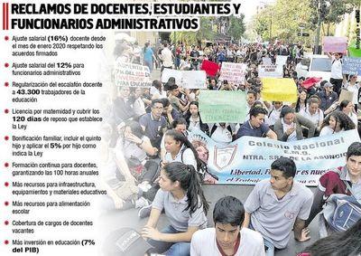 Educadores se movilizan en  todo el país para insistir con los aumentos