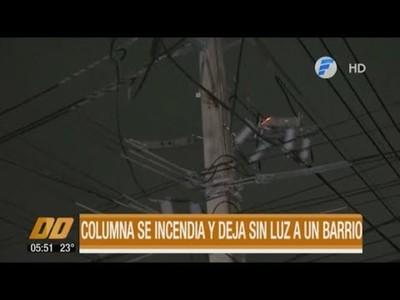 Columna se incendia y deja sin luz a un barrio