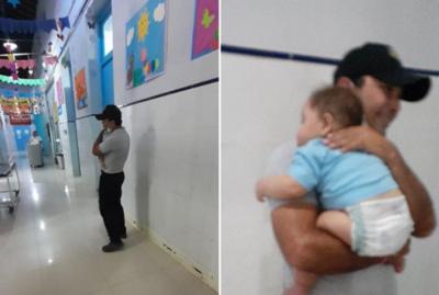 El empático y emotivo gesto de un guardia que cargó a un bebé en el hospital