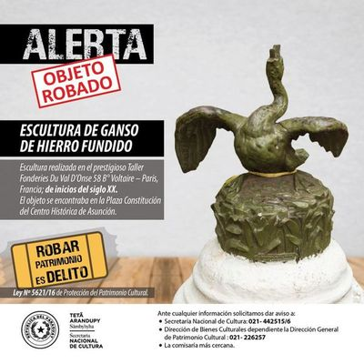 Alerta: roban pieza escultórica de plaza del Centro Histórico de Asunción