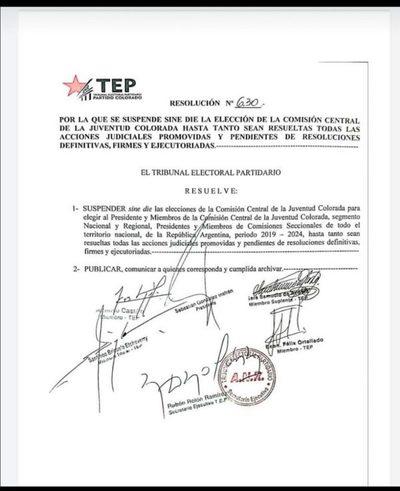 TEP suspende elecciones juveniles de la ANR