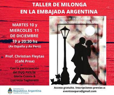 Embajada Argentina invita a taller gratuito de milonga