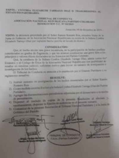 Exdiputada Cynthia Tarragó fue excluida de la ANR