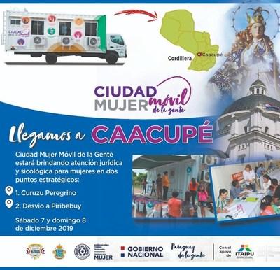 Ciudad Mujer Móvil llega este fin de semana a Caacupé
