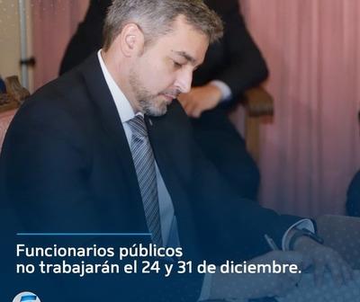 Funcionarios públicos no trabajarán el 24 y 31 de diciembre